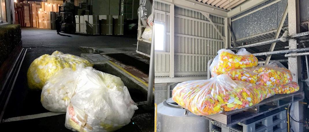 解体した原料を静岡の製紙工場まで運搬 / 原料を工場内に搬入